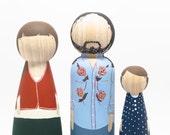 "Fair Trade - 3 Dolls - Fully Custom Family of Three Oversized Peg Dolls 7"""