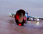 Genuine Mozambique Garnet Sterling Silver Scroll Ring, Cavalier Creations