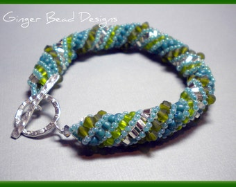 Olivine and Turquoise Russian Spiral Bracelet