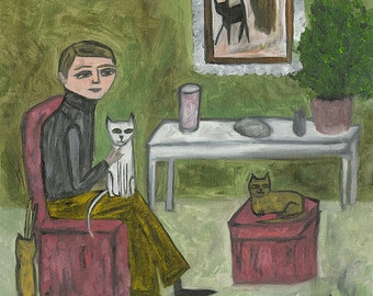 Cecil Hartwig, cat fancier.  Original oil painting by Vivienne Strauss.