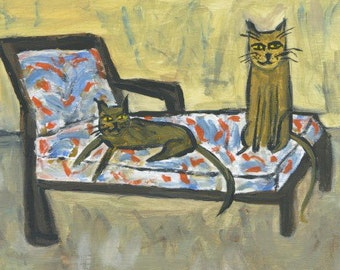 Cat art - Lounge Cats.  Original oil painting by Vivienne Strauss.