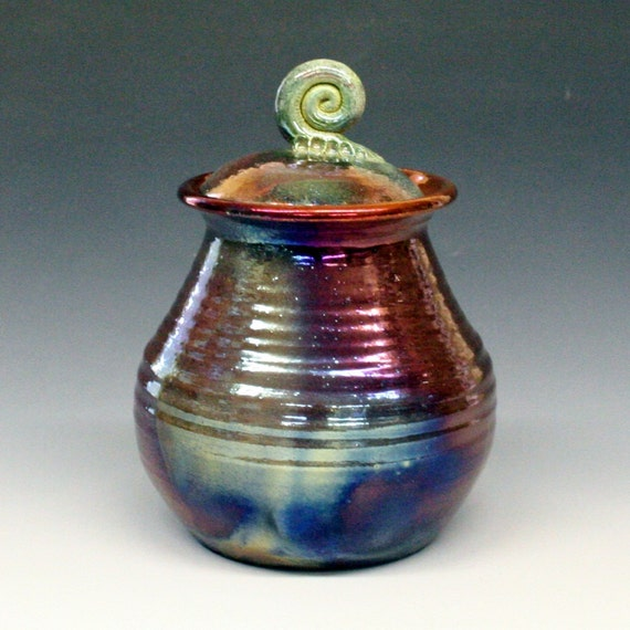 Green Copper Blue Lidded Pot or Urn with Spiral Knob