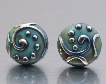 Stud earrings - Line Art  in copper green and silver. Lampwork glass by Jennie Yip