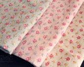 Yuwa mini roses Cotton Linen Slub Fabric (Grey/Pink/Off White) (0.5 yard)