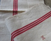 French Linen Cloth w/ Tripple Red Stripe Towel Ecru Linen Dish Towel French Torchon Heavy Tea Towel Unused Bistro Stye Country Home
