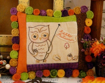 Hello Autumn OWL embroidery PDF Pattern - banner