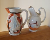 Pair of Antique Majolica Small Pitchers Birds