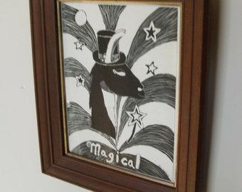 Vintage Magical Framed Original Art