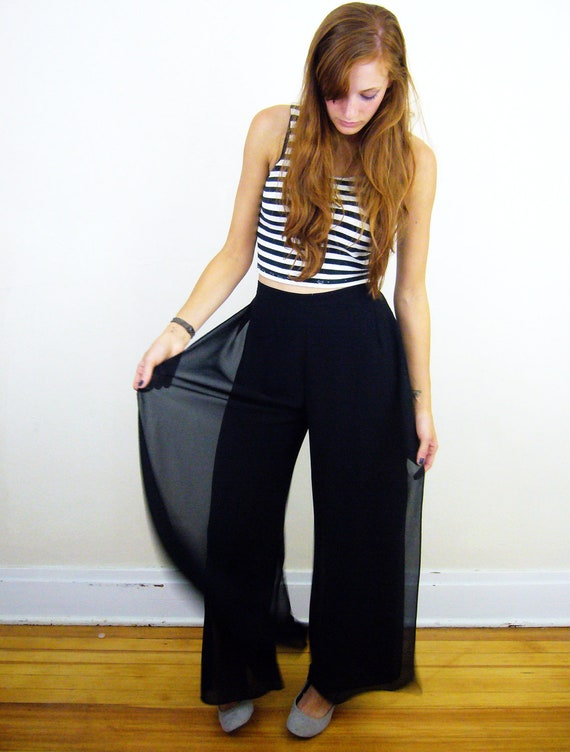 Black High Waist Semi-Sheer Wide Leg Pants