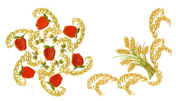 Harvest borders wheat for the hoop machine embroidery