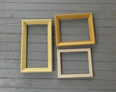 3 Vintage Frames Creamy Yellow Picture Frames Wedding Photos French Country Farmhouse Photo Frames Cottage Chic Shabby Set of 3