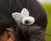 minimalist - COMB - clay embroidery, french-beaded petals - black, pewter, silver, white - AncaPeelma
