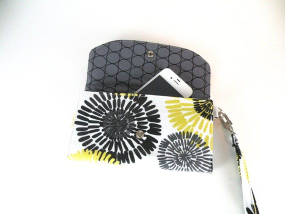 Wristlet Wallet in black and yellow floral laminate