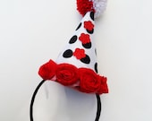 Halloween Costume, Clown Hat, Circus Costume, Adult, Kids, Red, White, Black Polka Dots, Roses, Pom Pom, Burlesque, Batcakes Couture