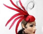 Red Hat, Peacock Feather Fascinator, Satin Cocktail Hat, Showgirl Headpiece, High Fashion, Surreal Costume, Batcakes Couture