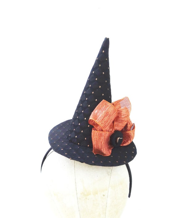 Mini Witch Hat, Halloween Costume Accessory, Black and Orange, Black Heart, Head Piece, Sexy Witch, Batcakes Couture
