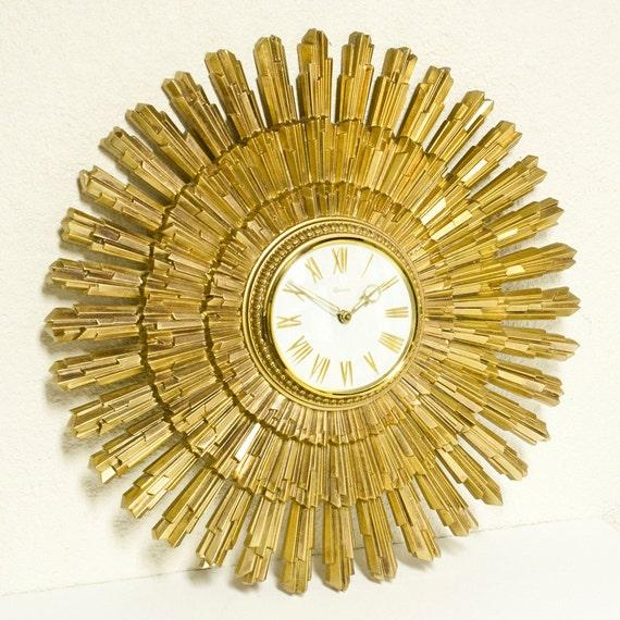 Vintage Clock Starburst Sunburst Syroco Wall Clock