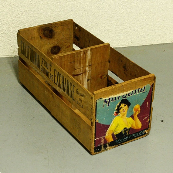 Vintage Wood Crate Wood Box Produce Crate Fruit Crate