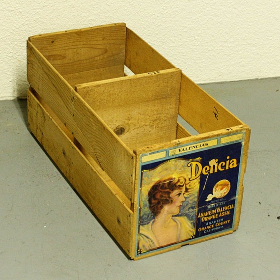 Vintage Wood Crate Wood Box Produce Crate By Oldcottonwood