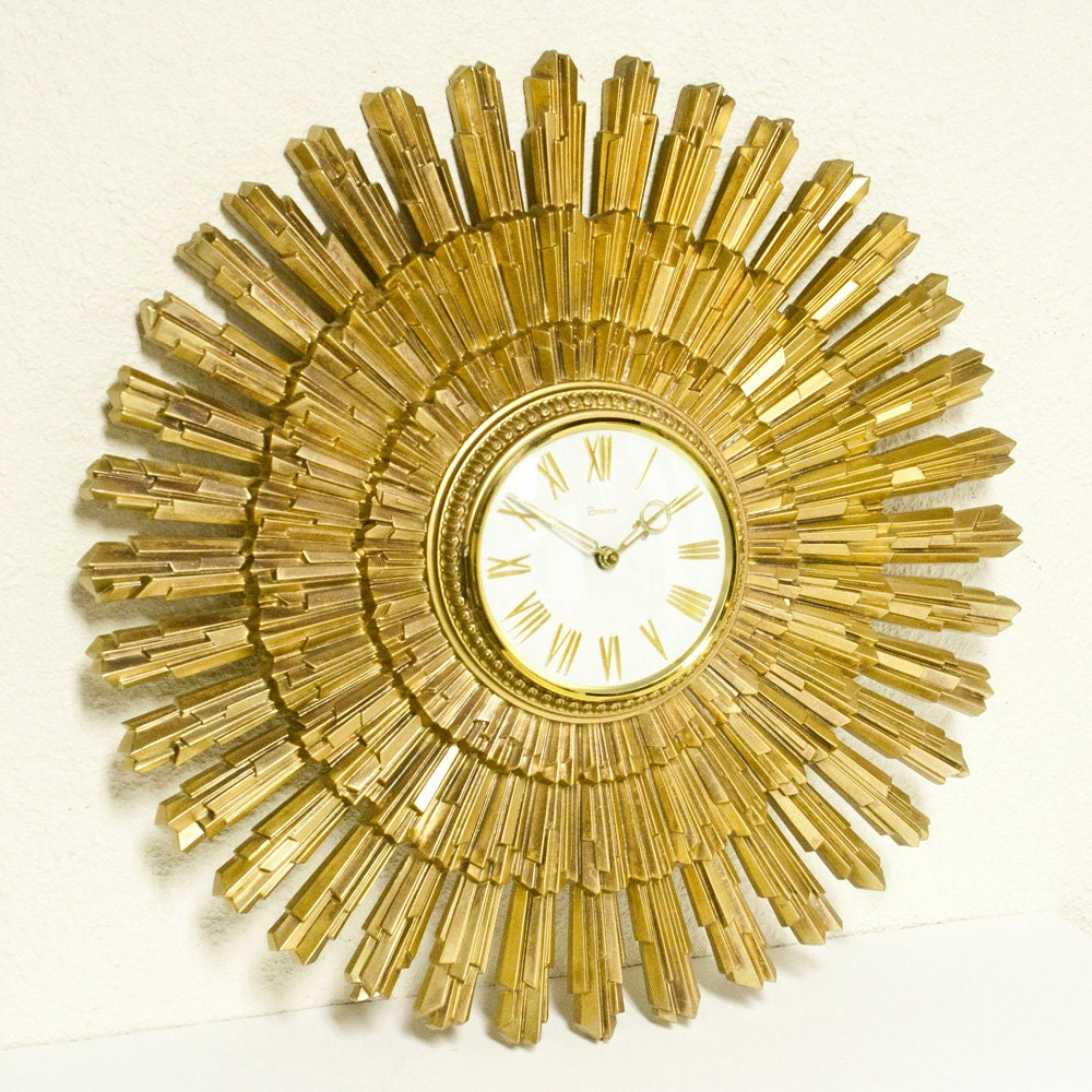 Vintage Clock Starburst Sunburst Syroco Wall Clock