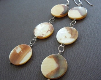 Mother of Pearl Tan and Cream Tiger Shell Tiered Dangle Earrings - Sample Sale