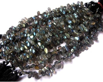 Full 8 Inches- Finest Quality Blue Flashy Genuine AAA Labradorite Smooth Polished Pear Briolettes Size 12x7 - 14x7mm approx, Wholesale Price