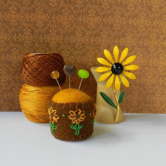 Sunflower Bottle Cap Pincushion
