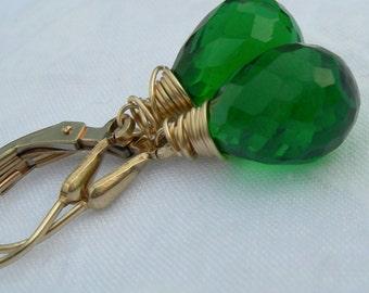 Grass Green Quartz Gold Fill Earrings