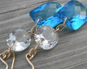 Swiss Blue Topaz Green Beryl Gold Fill Magic Dangle Earrings
