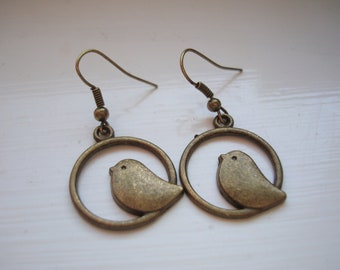 Mockingbird Bird Earrings Baby with Bronze Plated Earwires