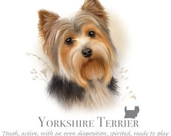 """YORKSHIRE TERRIER (Yorkie) dog with Phrase on One 18""""x22""""Fabric Panel for  Sewing. Actual picture is 10"""" x 10.5 on white ackground."""