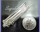 100 Silver Plated Metal Eye Pins 50mm 21 Gauge