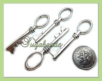 3 Silver Key Charms 42 x11mm