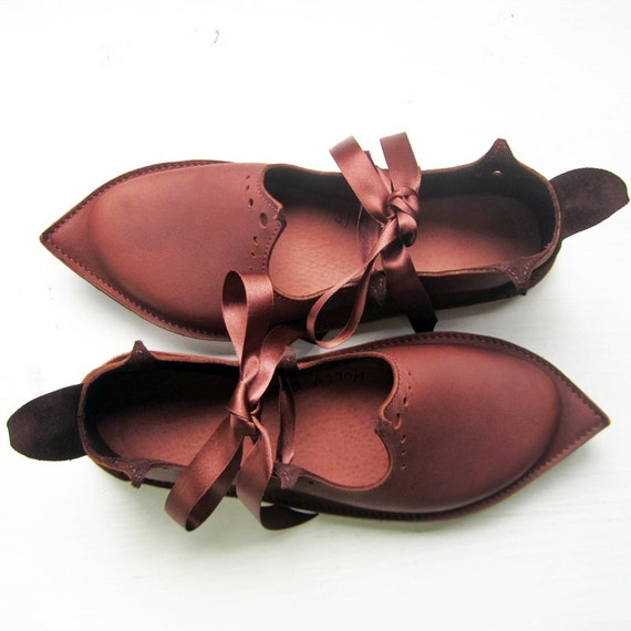 CUSTOM Handmade Womens Leather Fairy tale Shoes in Dark Chestnut leather HOLLY fairy by Fairysteps