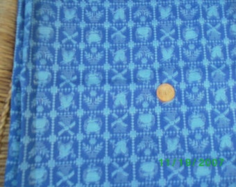 Vintage Cotton Quilt Fabric Lt. Blue Holland on Cobalt Blue