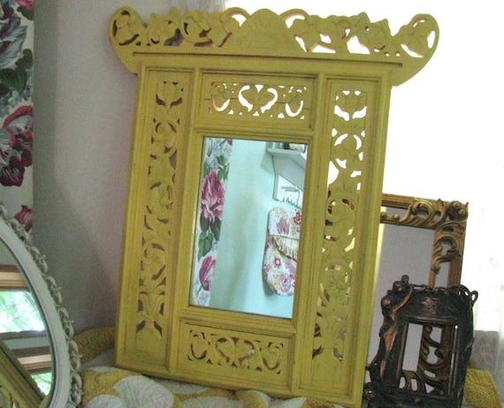 Vintage Mirror Carved Wood Frame