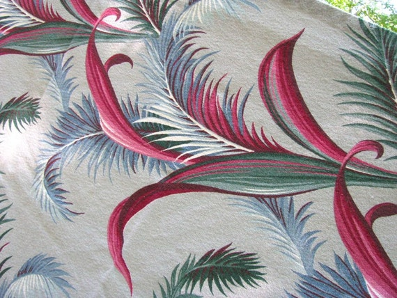 Vintage Barkcloth Fabric 3 yards - Grey Rose Blue Green - Tropical Bark Cloth Nubby Cotton