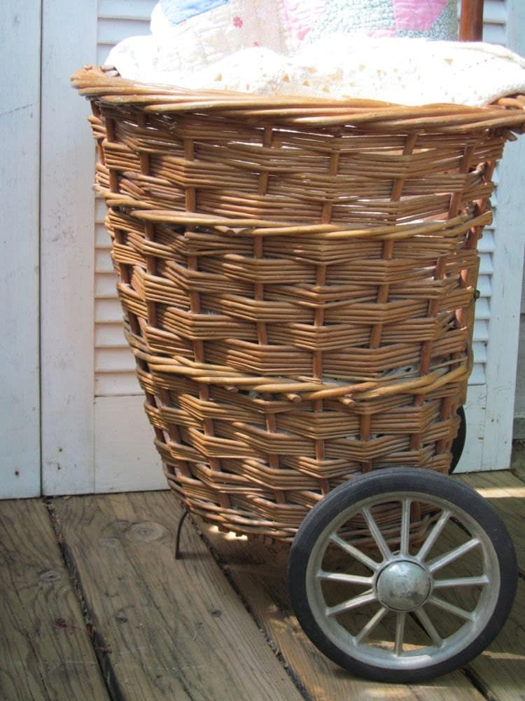 Vintage Wicker Basket Market Cart Shabby French Cottage