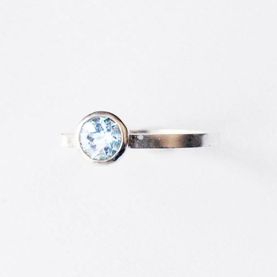 Faceted Aquamarine Bezel Set Modern Silver Ring Size 6 1/4