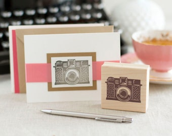 Vintage Camera Rubber Stamp - Handcrafted Wood Mounted - Picture Time Great Letterboxing or Photographer Stamp Excellent for Scrapbooks