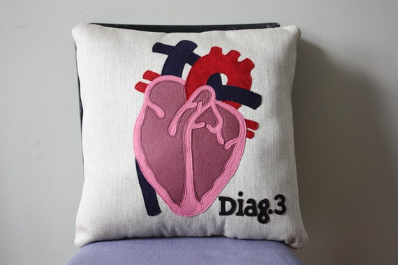 Science Diagram Pillow - Heart // Cardiology // Cardiologist // Heart Transplant Gift // Valve Replacement // Bypass // Love // Blood