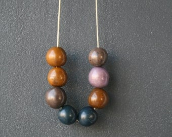 Eco Tagua Necklace. Blue, Purple, Brown.
