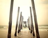 Beach photography surf print golden sunset, ocean photography monochrome print old pier, wall art, shore house print - 8x10 photograph