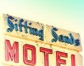 Sign photography, beach motel, mid century decor, wall art, wall hanging, road trip, kitchen art