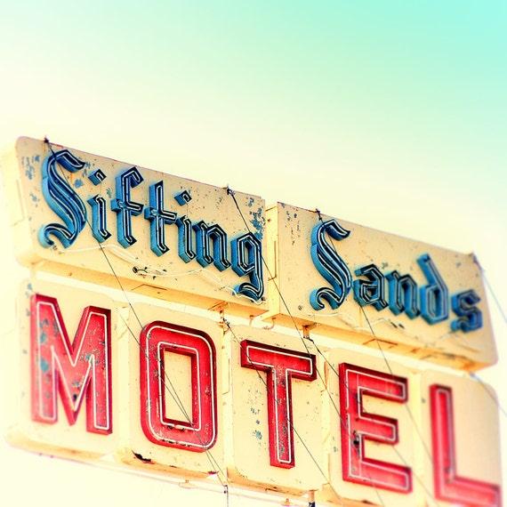 Sign photography, beach motel, mid century decor, wall art, wall hanging, road trip, kitchen art, bathroom decor, vintage motel sign