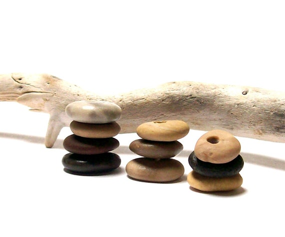 "Little Round Donut Beach Stones - Natural Stone Supplies, River Rock Cairn Stacks - ""Cutie Pies"" by StoneMe"