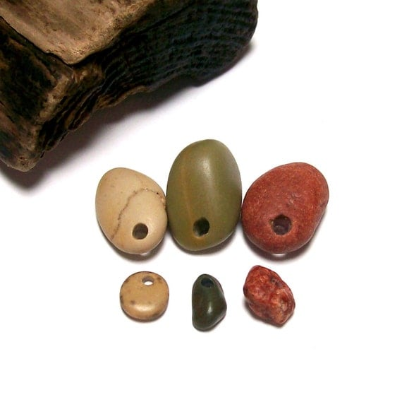 """Matching Color Beach Stones Sets - Drilled Pebbles Organic Eco Jewelry Beads - """"Tahitian Treat"""" by StoneMe"""
