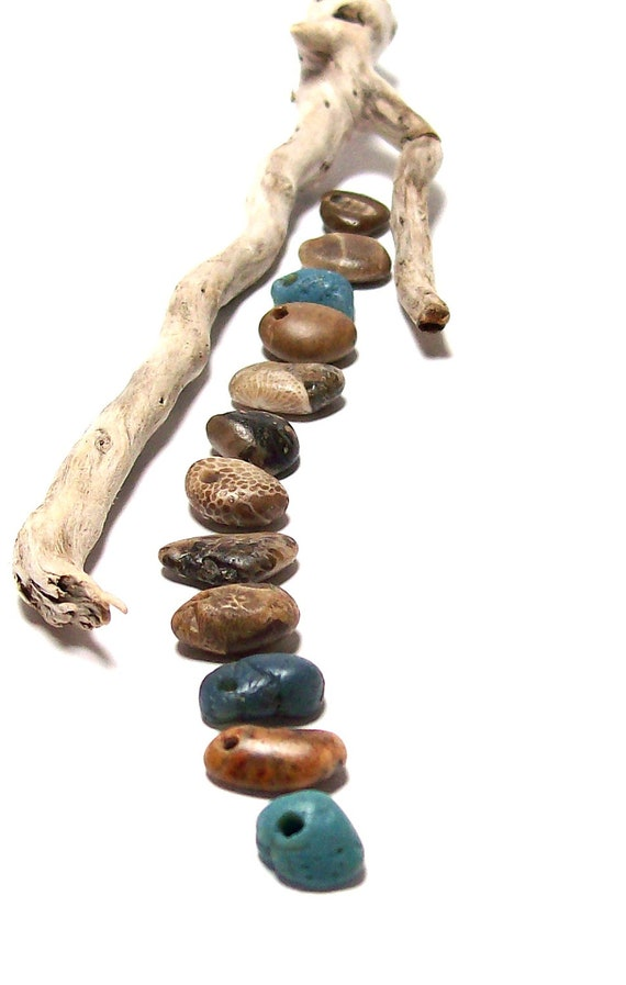 "Blue Sea Glass -Beach Pebbles Leland Slag Stones - River Fossils Rocks ""Swept Ashore"" by StoneMe"