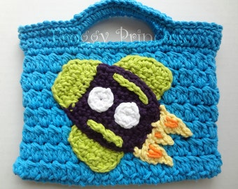 Rocket Treasure Tote Hand Crocheted Toddler Bag READY TO SHIP