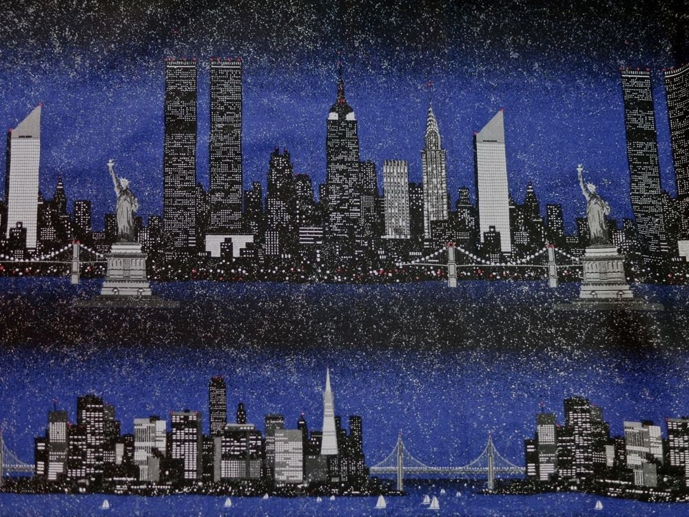 American City Skyline Cotton Fabric 1998 Fabric Traditions